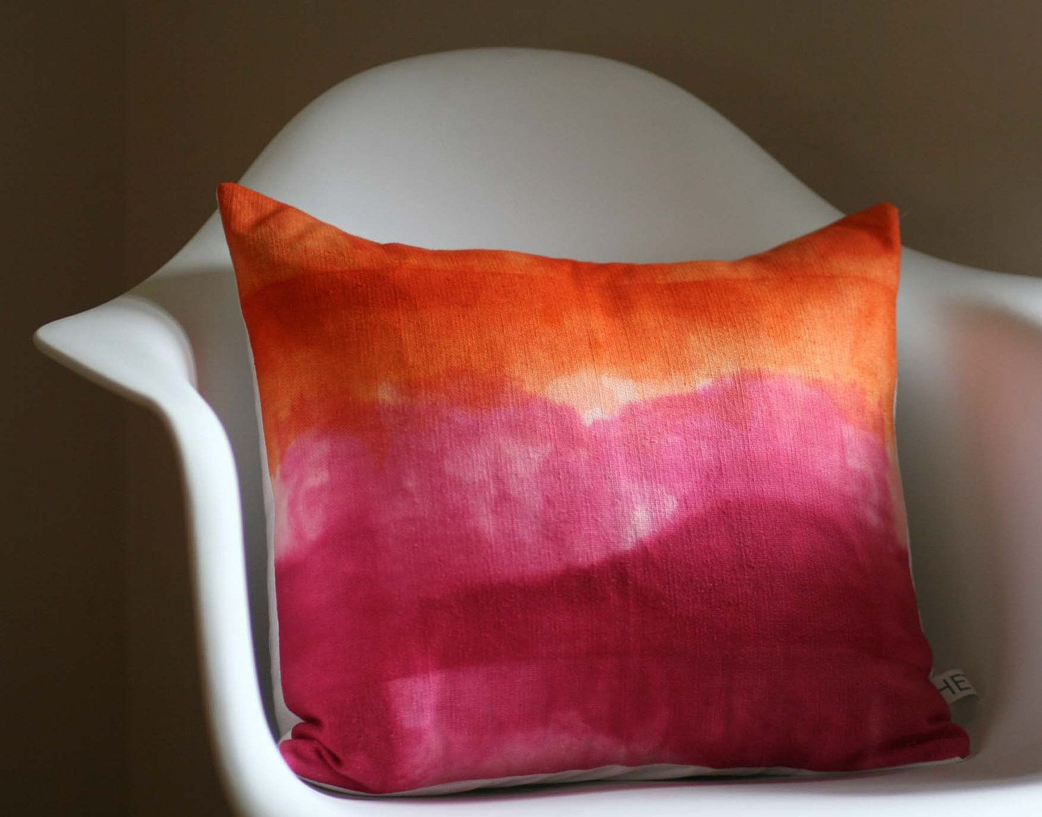 Summer Landscape Watercolors Hand Dyed Pillow Cover