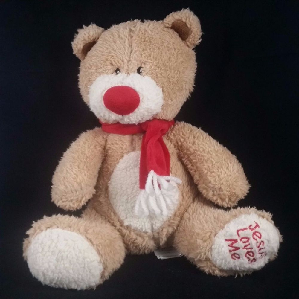 Jesus Loves Me Teddy Bear Christian Plush Stuffed Animal Brown Red