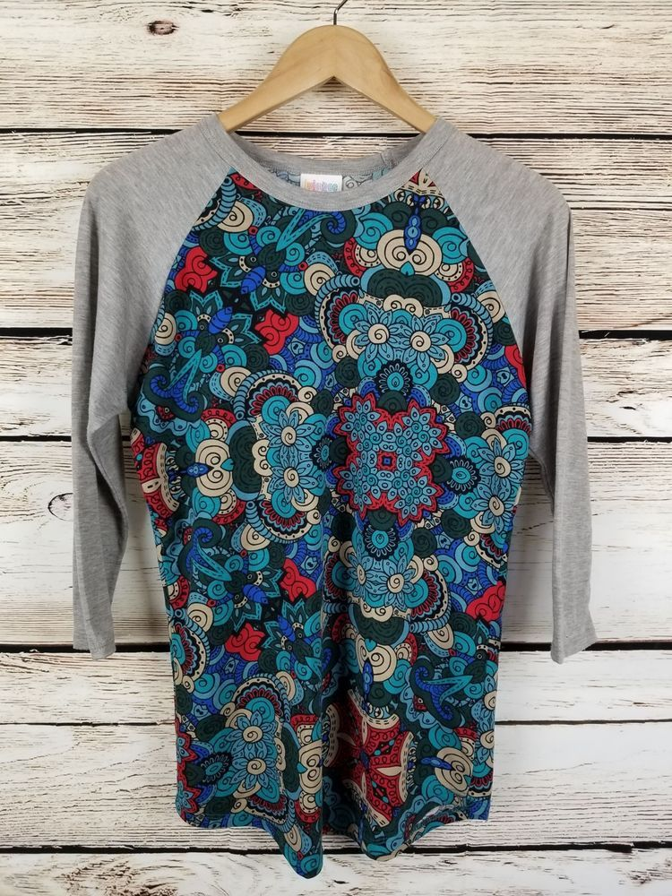 Lularoe Randy top Sz Small women 4-6 Multicolor Floral Pattern Baseball Tee #LuLaRoe #BasicTee