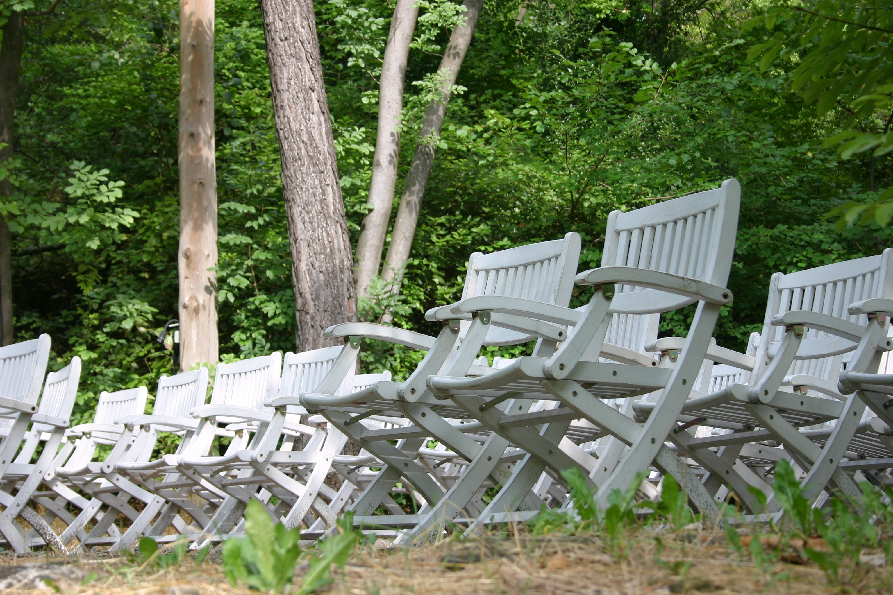 White chairs in the garden of the house of Cezanne