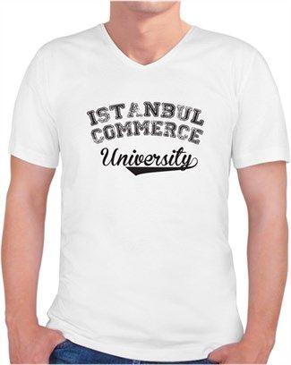 İstanbul Ticaret Üniversitesi - Model2 Sarı- Kendin Tasarla - Erkek V Yaka Tişört