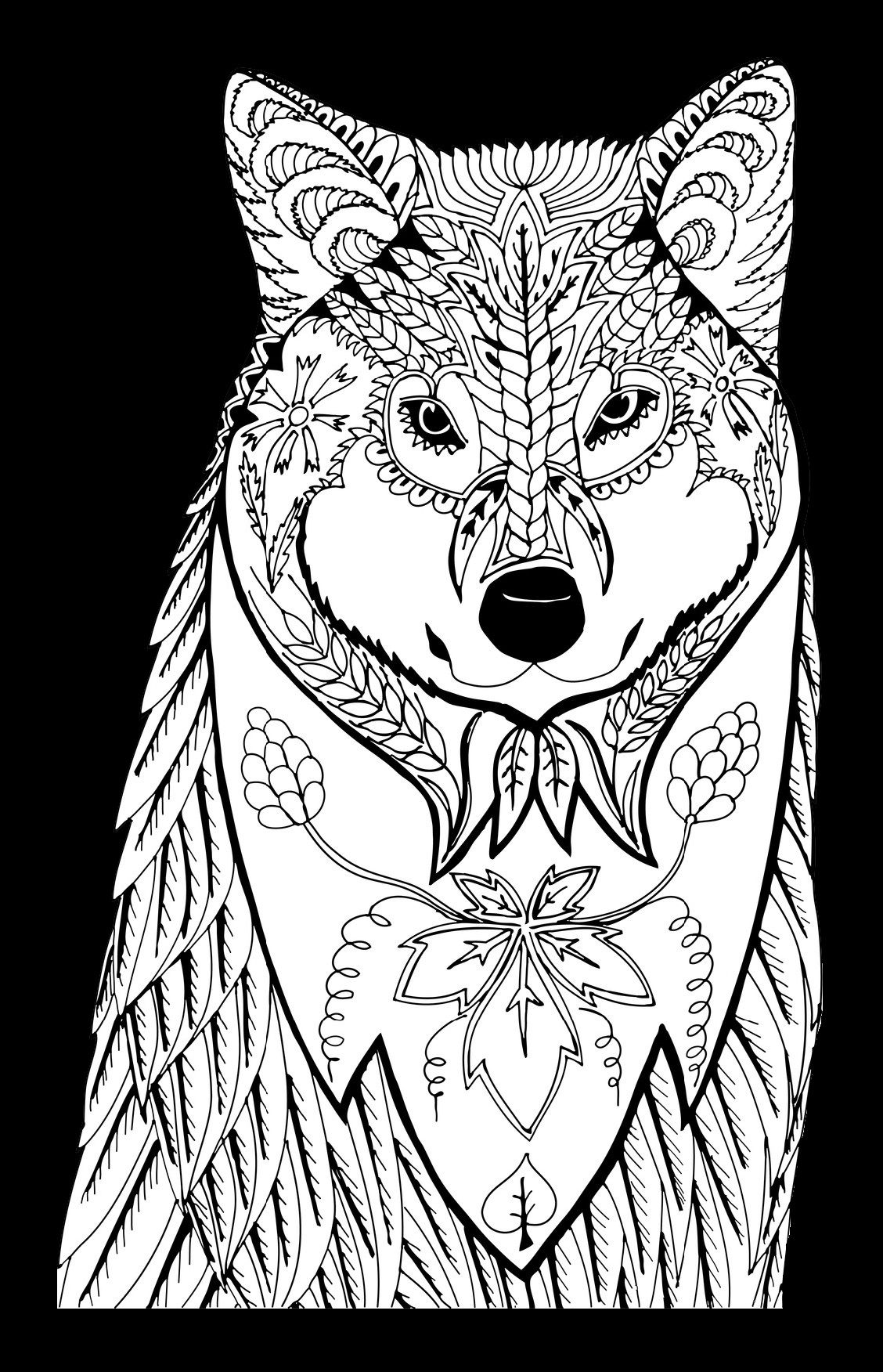 Wolves Coloring On Black Pages Animal Coloring Books Wolf Colors Animal Coloring Pages