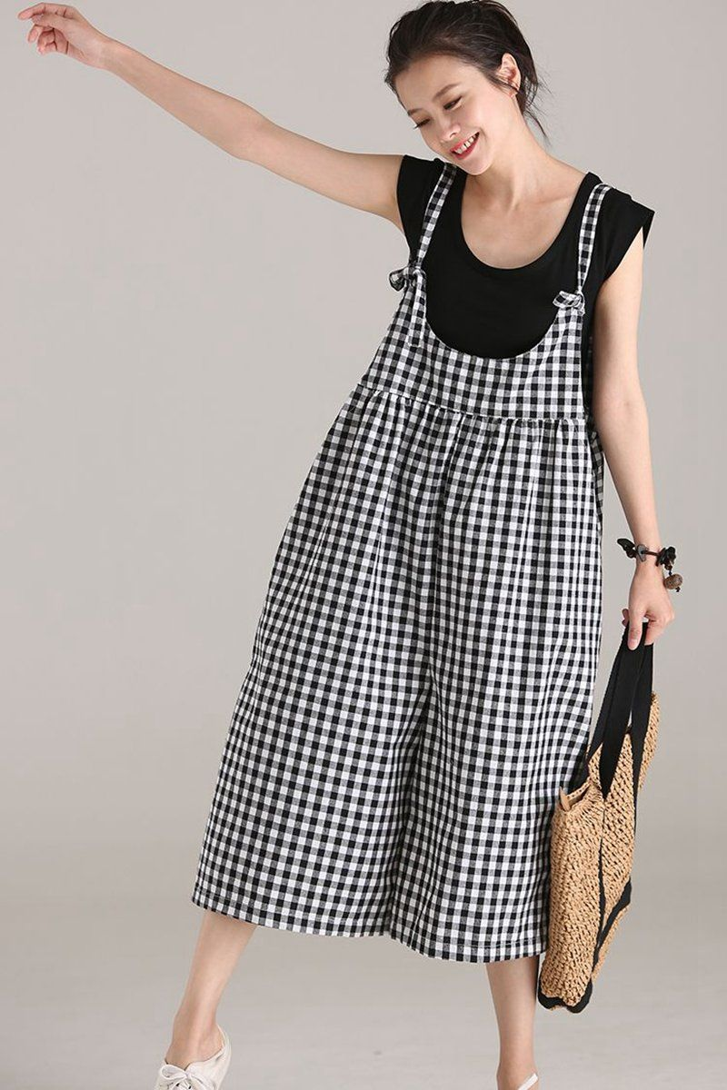 86d230ea623 Plus Size Black Plaid Cotton Linen Overalls Women Loose Jumpsuit K5112
