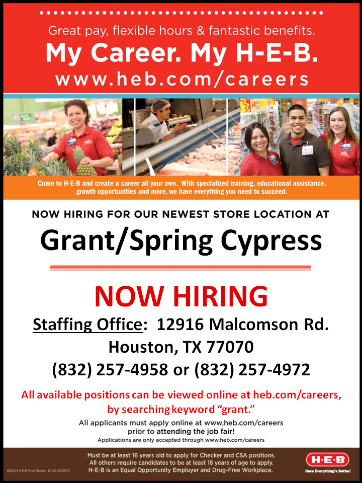 H E B Careers Fans We Are Opening A New Store In Cypress Tx In Late August And We Are Currently Hiring For This Store Visit Www Texas Jobs Job Fair Career
