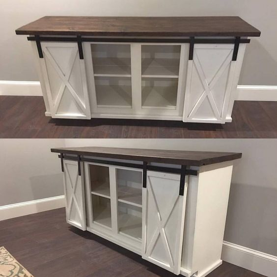 Custom Sliding Barn Door Cabinet Entertainment Center Entry Buffet Console Credenza By Fivesixoriginals On Etsy