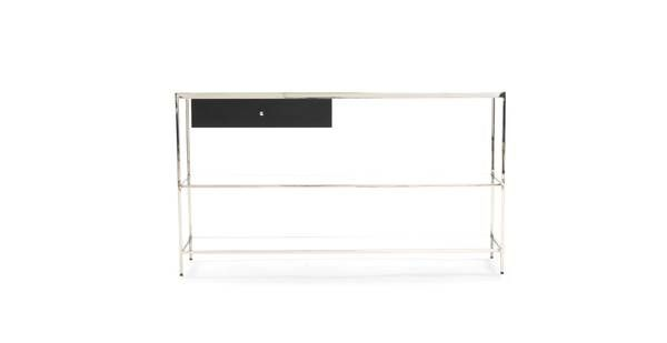 Console Table: Stainless Steel, White Glass Mitchell Gold Bob Williams