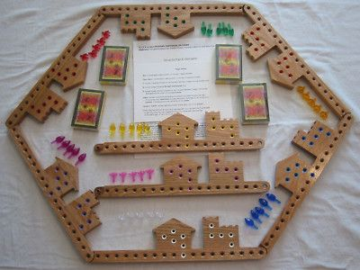 Pegs And Jokers Board Game 8 Players 4 Decks Cards Oak