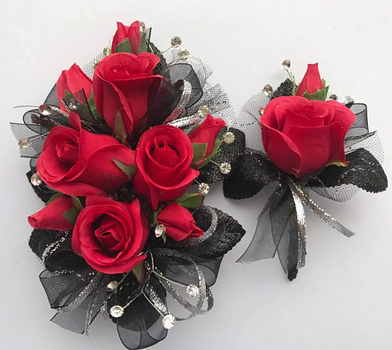 Red Silk Rose Corsage And Boutonni 232 Re Set Trimmed In