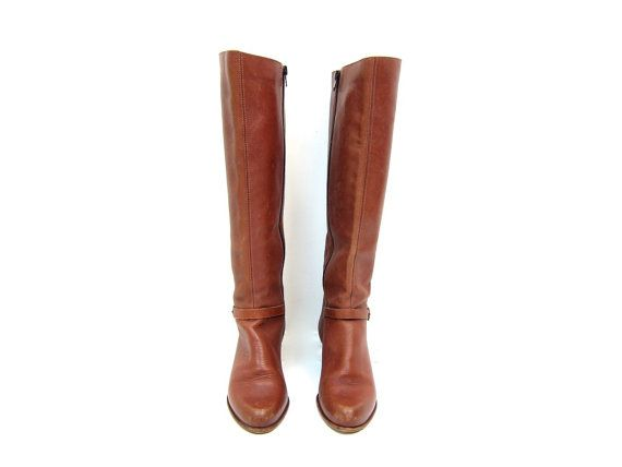 028169c1736ed Tall Leather 70s Boots Vintage KNEE HIGH Boots Brown Leather Buckled ...