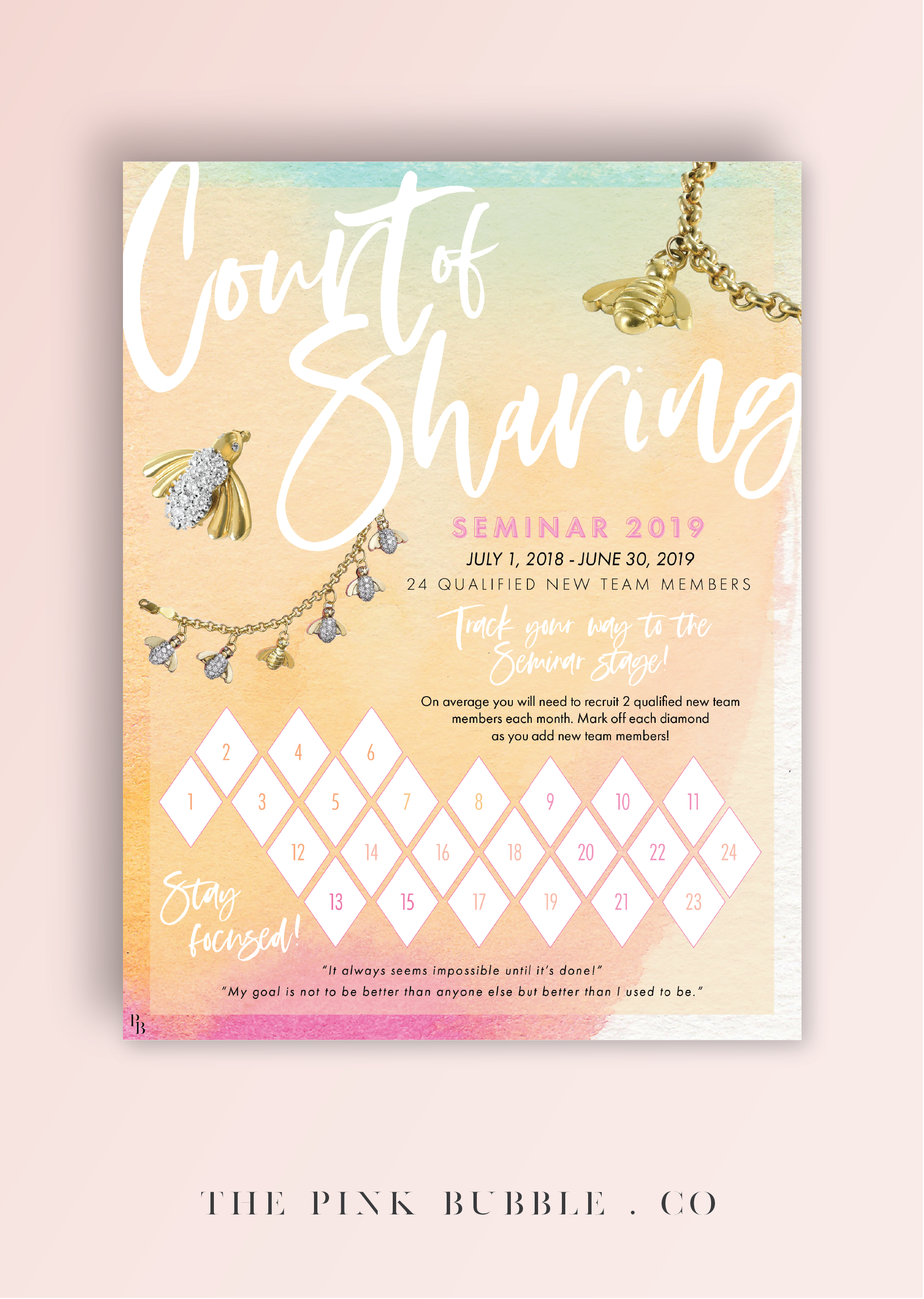Mary Kay Court of Sharing 2019 Tracking Sheet! Track your