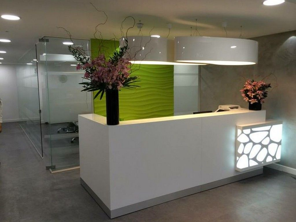 Furniture, Small Salon Reception Desk With Recessed Lighting: How ...