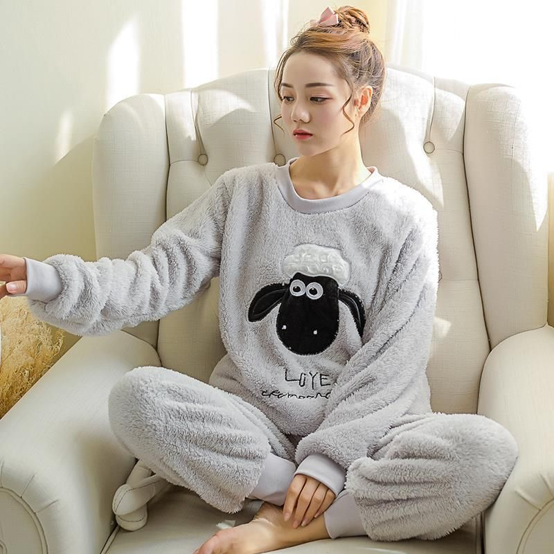 Women Gift Adult Flannel Pajamas Sets mujer Adults Cartoon Thick Warm Women  Pyjama Sets Sleepwear For Ladies Female Nightwear b2fb6b9df