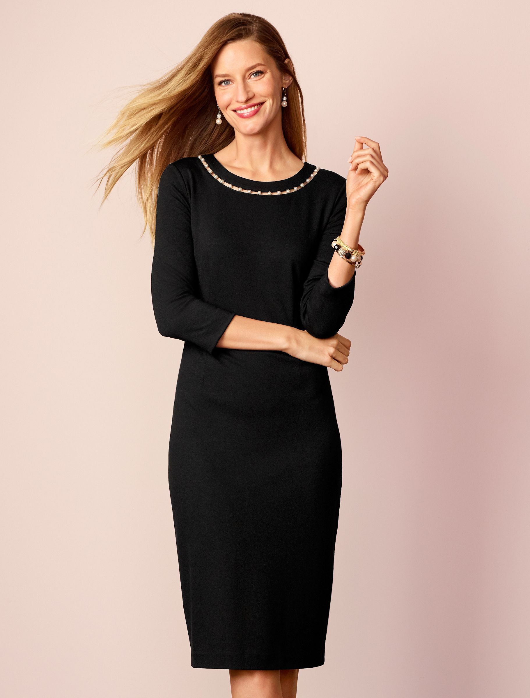 A Sophisticated Pearl Trimmed Neckline Transitions This Little Black Dress From The Office To Dinner With Ease Craft Trendy Dresses Dresses Little Black Dress [ 2396 x 1821 Pixel ]