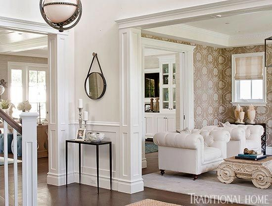 Blue And White Classic American Style Home Of BIll And Guiliana Rancic As  Feautred In Traditional