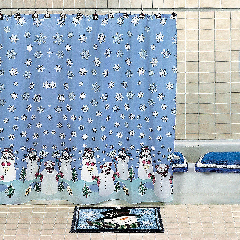 Amazon.com: OTC Snowman Christmas Holiday Winter Fabric Shower Curtain,  70 Inches