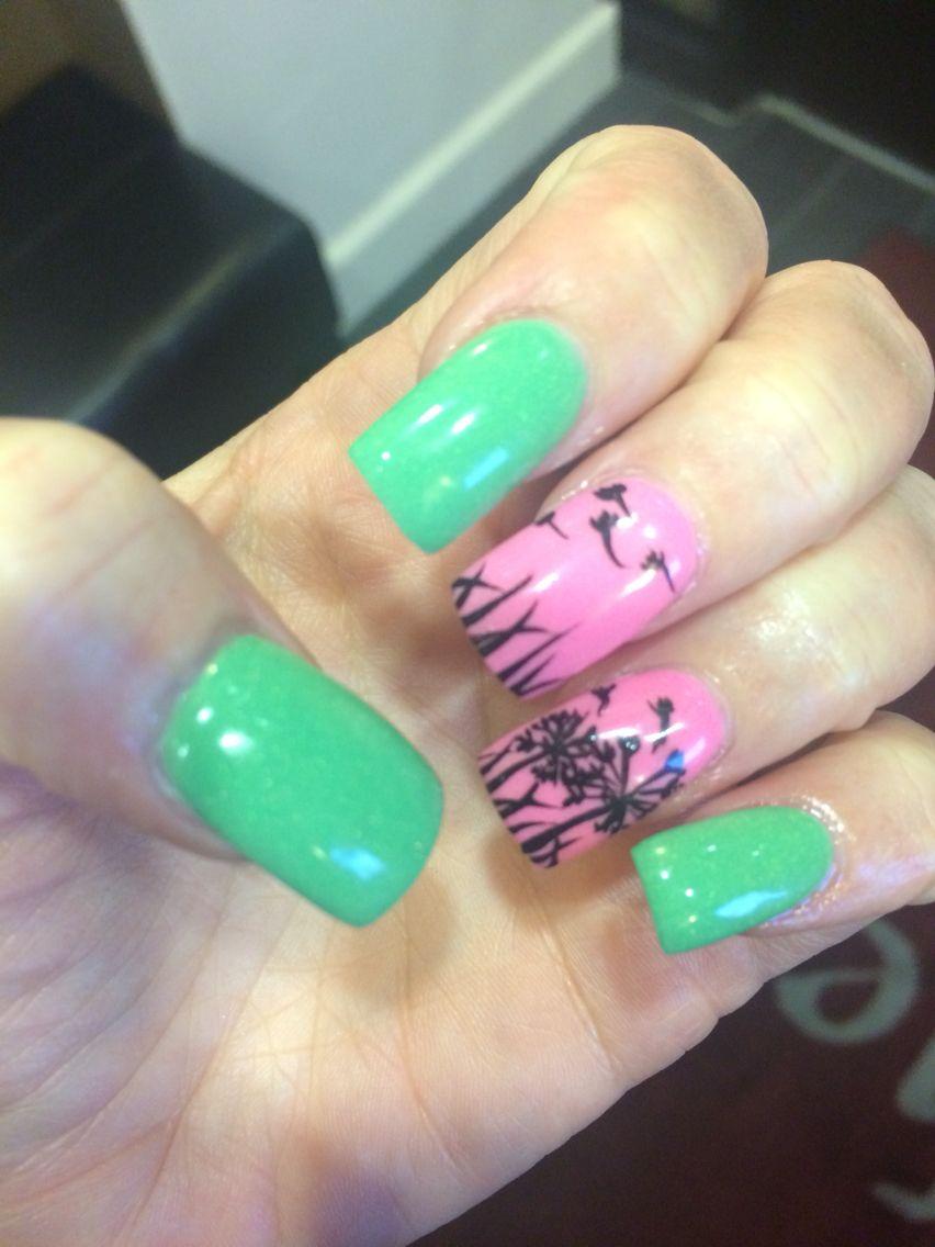 Mint green and pink nails. Dandelion nail art | Nail art | Pinterest ...