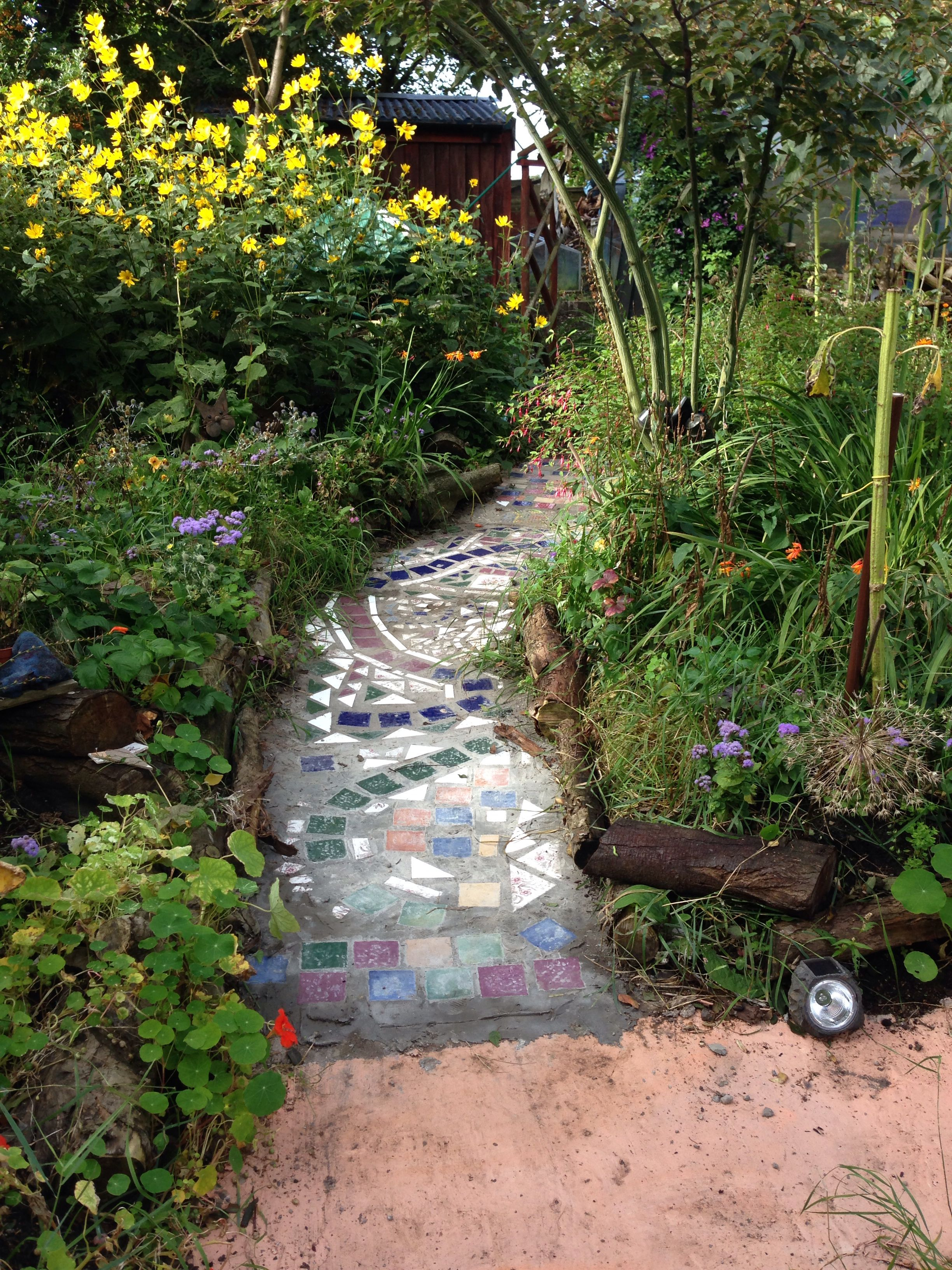 #Mosaic Tile Path For Kids Garden Tiles Found, Begged And