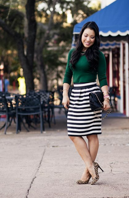 Emerald Black White Stripes Fashion Striped Skirt Outfit