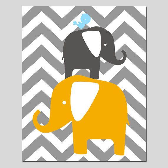 Chevron Elephant Bird Stack - 11x14 Print - Modern Nursery Art ...