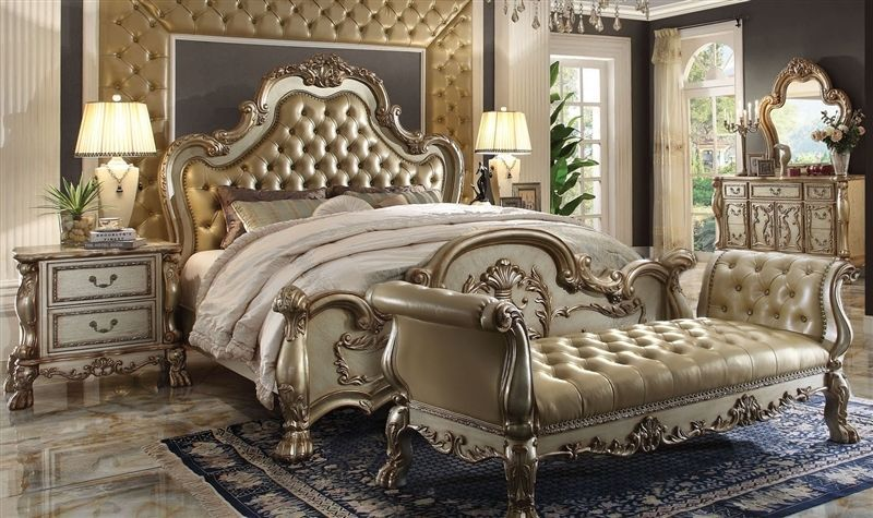 Contemporary Bedroom Set London Black By Acme Furniture: Dresden Gold Antique Queen 5 Pc Bedroom Set Traditional