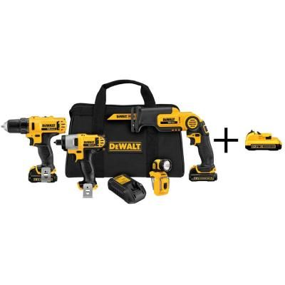 Dewalt 12 Volt Max Lithium Ion Cordless Combo Kit With Free Battery Pack 4 Tool Dck413s2dcb127 Dewalt Tools Dewalt Power Tools Impact Driver