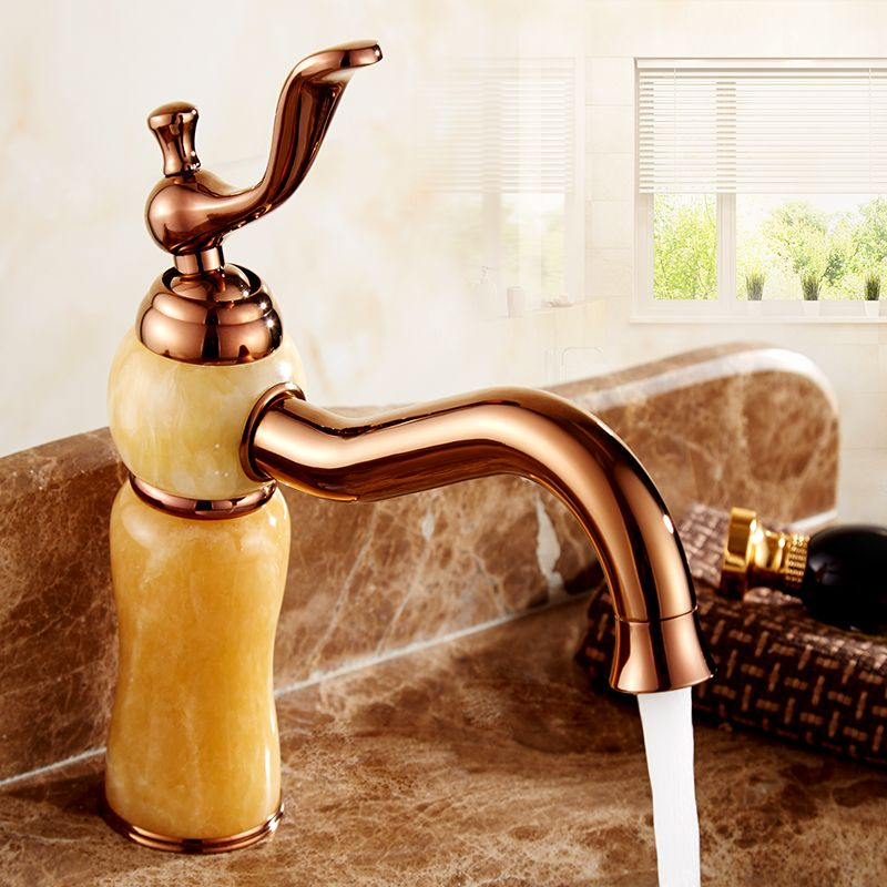 European Antique Rose Gold Bathroom Sink Basin Faucet Hot And Cold Copper White Yellow Jade Marble Wash Basin Faucet Whosale With Images Sink Faucets Basin Faucet