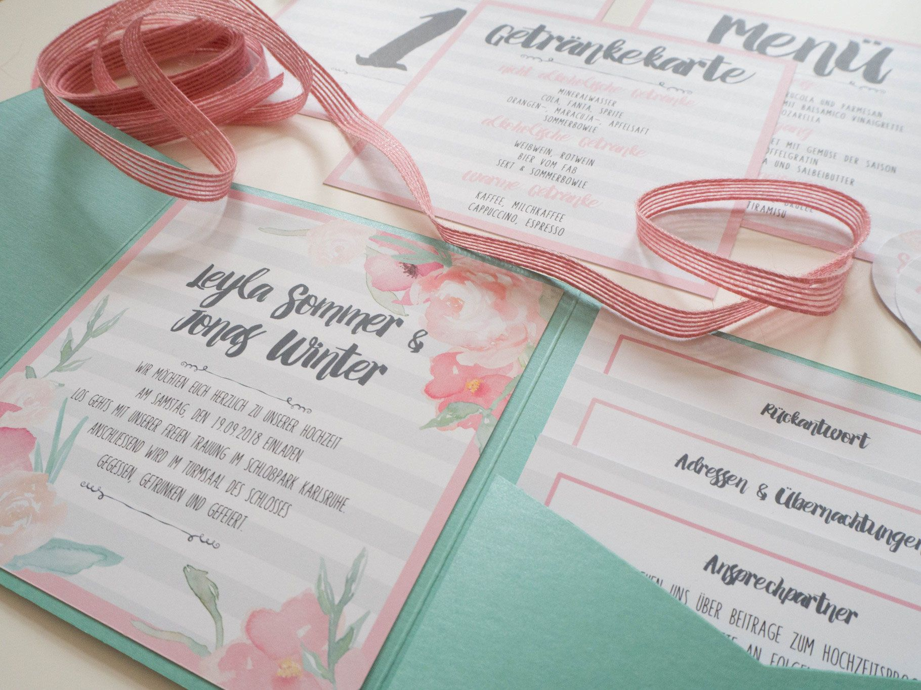 Pocketfold Einladung, Juhu Papeterie, Karlsruhe, Individuell, Vintage,  Mint, Rosa,