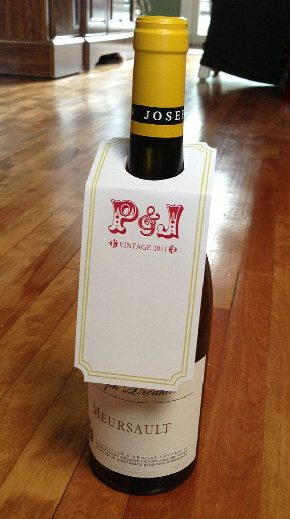 Qty 24 Custom Design Bottle Neck Label Tags By Packagingboutique Wine Neck Tags Wine Design Bottle