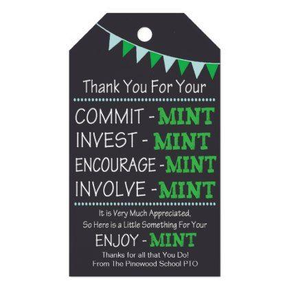 Appreciation Mint Thank You Gift Tag Favors | Zazzle.com