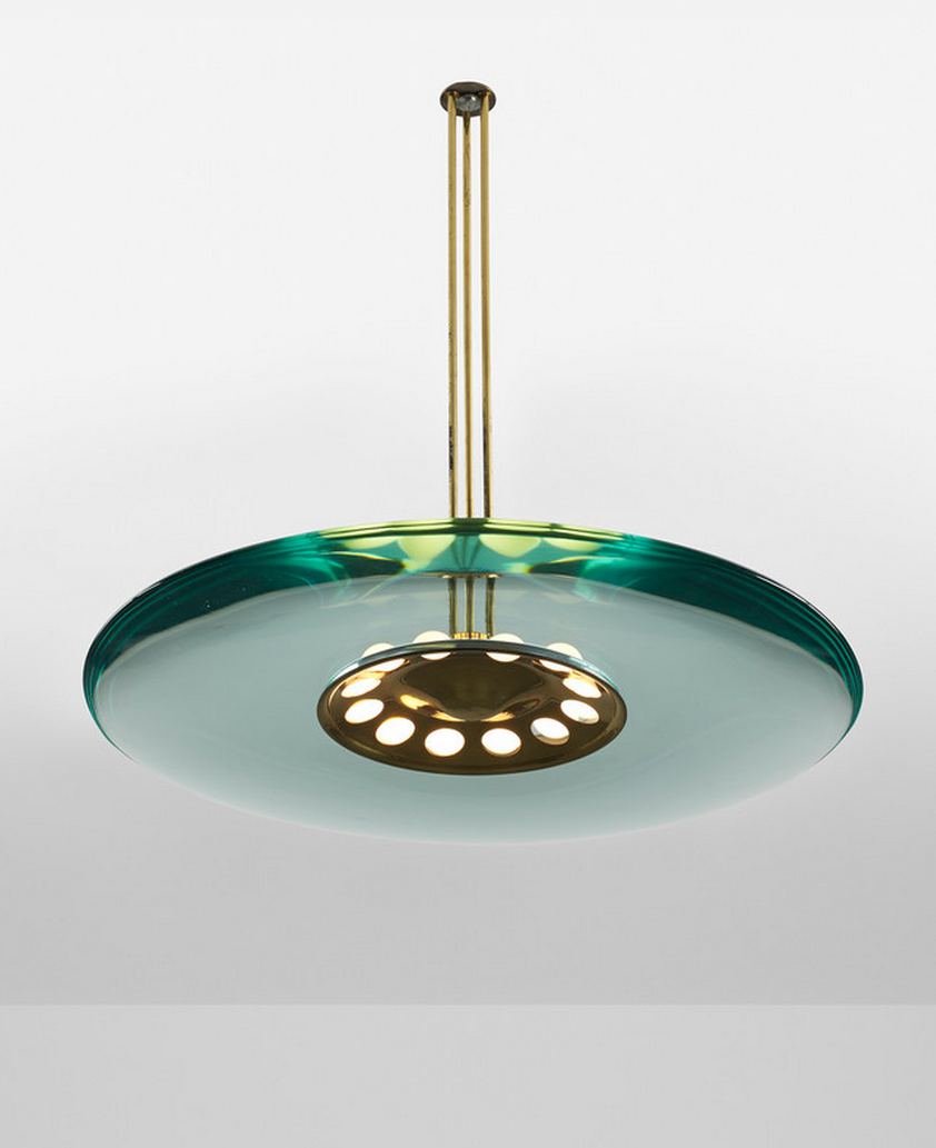 Glass and Brass Ceiling Lamp | Max Ingrand for Fontana Arte | c1954