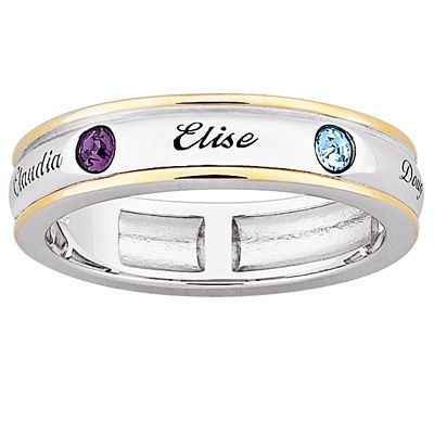 72c5139bd4f7b Mother's Birthstone Band in Sterling Silver and 18K Gold Plate (2-7 ...