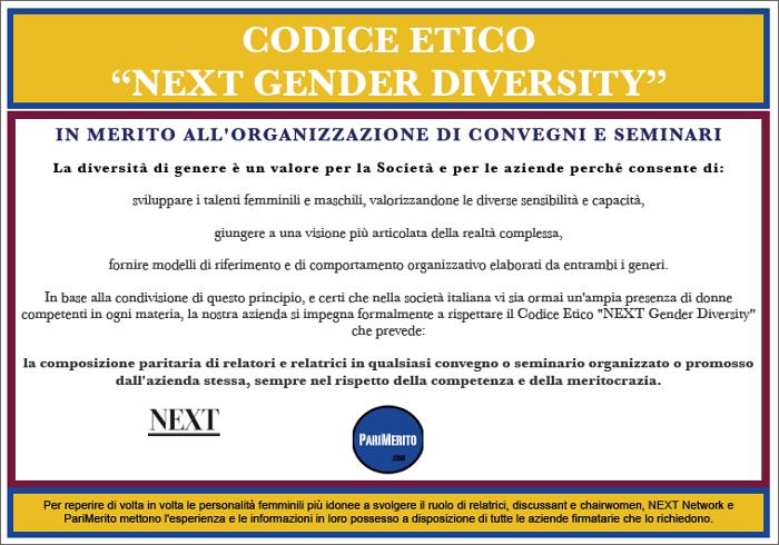 """CODICE ETICO """"NEXT GENDER DIVERSITY"""" IN MERITO ALL'ORGANIZZAZIONE DI CONVEGNI E SEMINARI."""