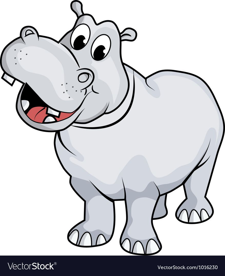 Illustration Of A Happy Hippo Cartoon Style No Gradient Easy To Edit Download A Free Preview Or High Quality Ado Hippo Drawing Cartoon Hippo Cartoon Styles