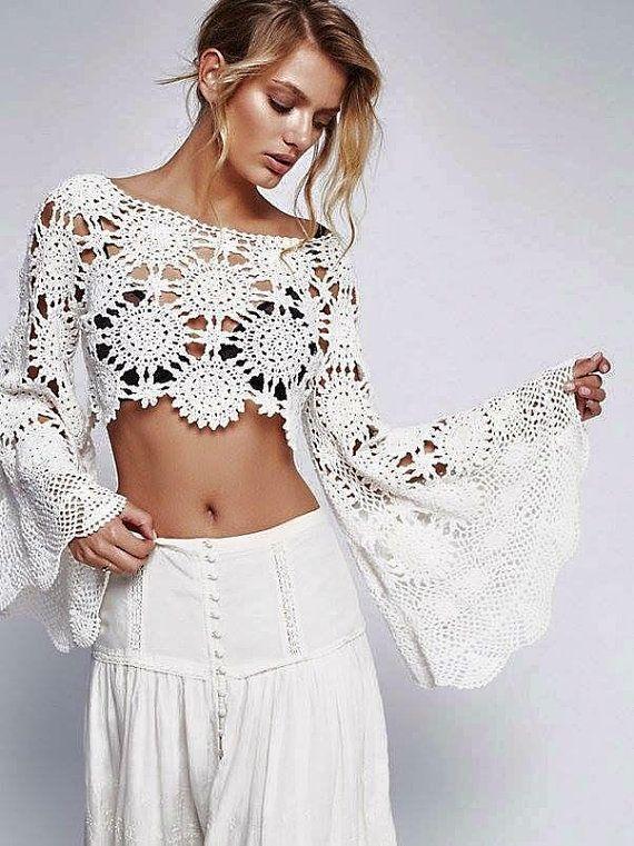 6a82a28fda Bohemian crochet top wide long BELL sleeve boho crop regular length blouse  lace sexy hippie gipsy