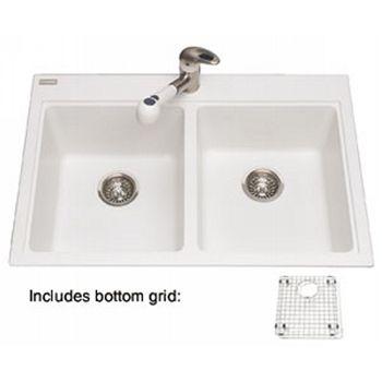 Kindred KDGLA22339HA Mythos Drop In Double Bowl Granite Kitchen Sink In  Polar White
