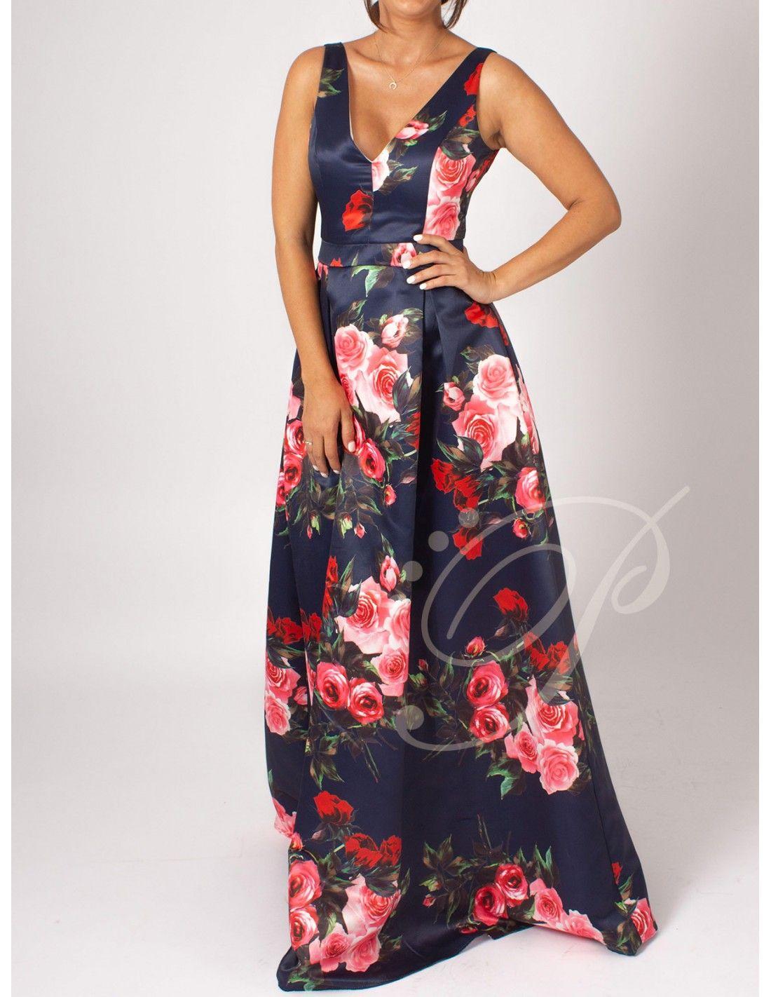 7c77ed64b Vestido Usune - Vestido largo de raso en color azul marino con estampado de  flores.