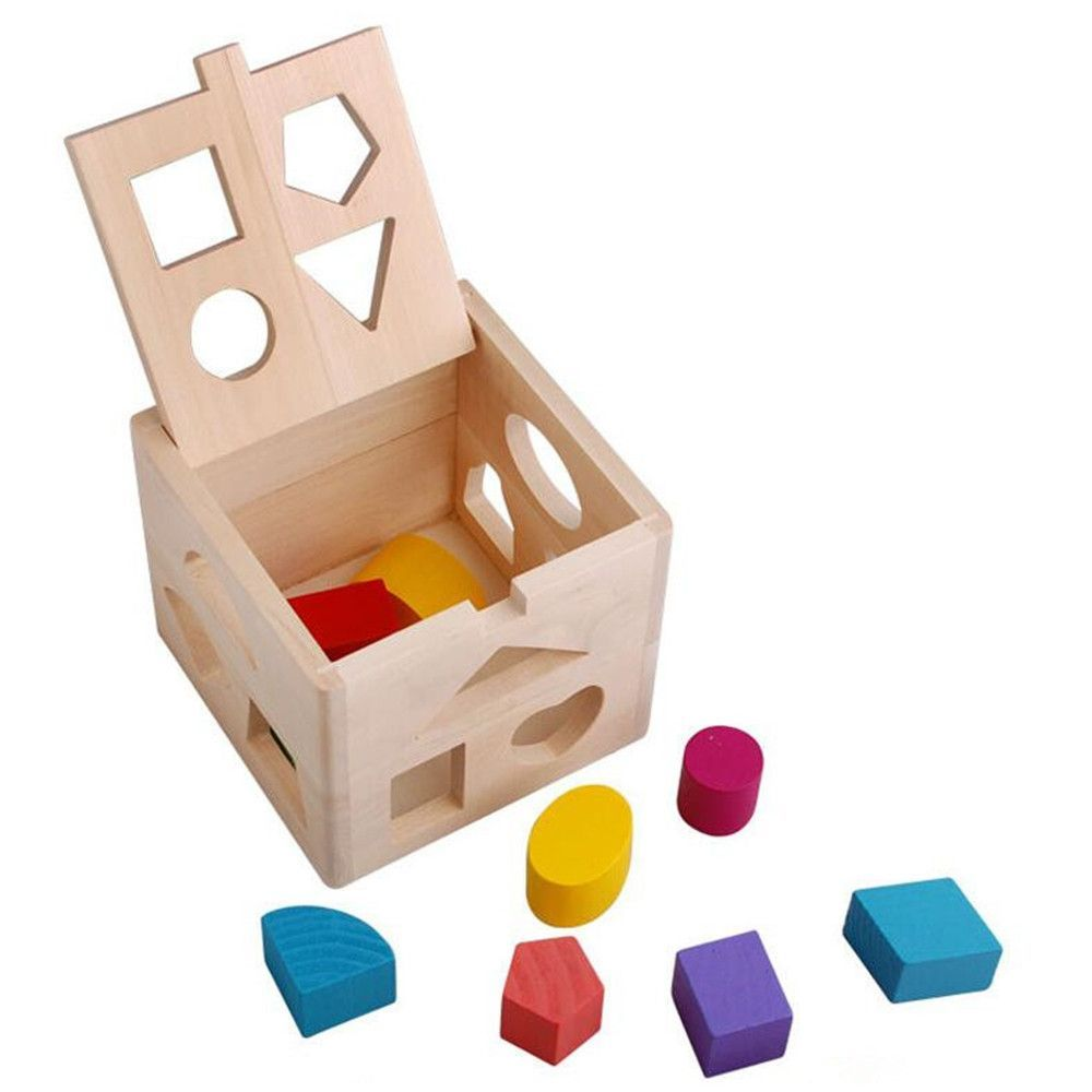 Wooden educational toys Thirteen hole intelligence box Toy brick Pre-school tools toys