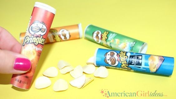 Miniature American Girl Doll Pringles Craft Pringles have been requested for a while now. I have noticed the requests and always thought it would be such a cool craft. The moment just never came. We like to be inspired when we craft and it's fun to have that ah hah moment when we're brainstorming for our crafts. … #americangirldollcrafts
