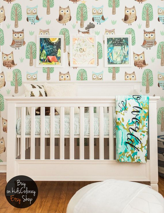 Owls Fairytale Kids wallpaper Nursery Baby wall mural Trees