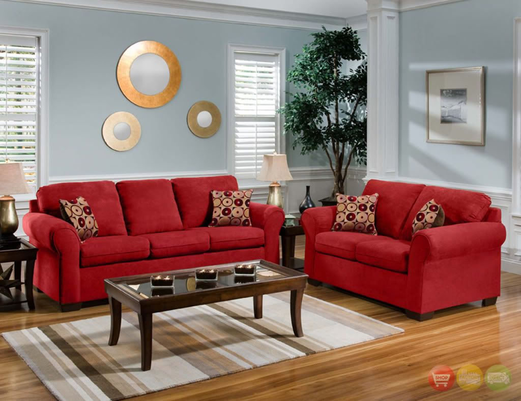 Casual red microfiber sofa love seat living room furniture set accent pillows