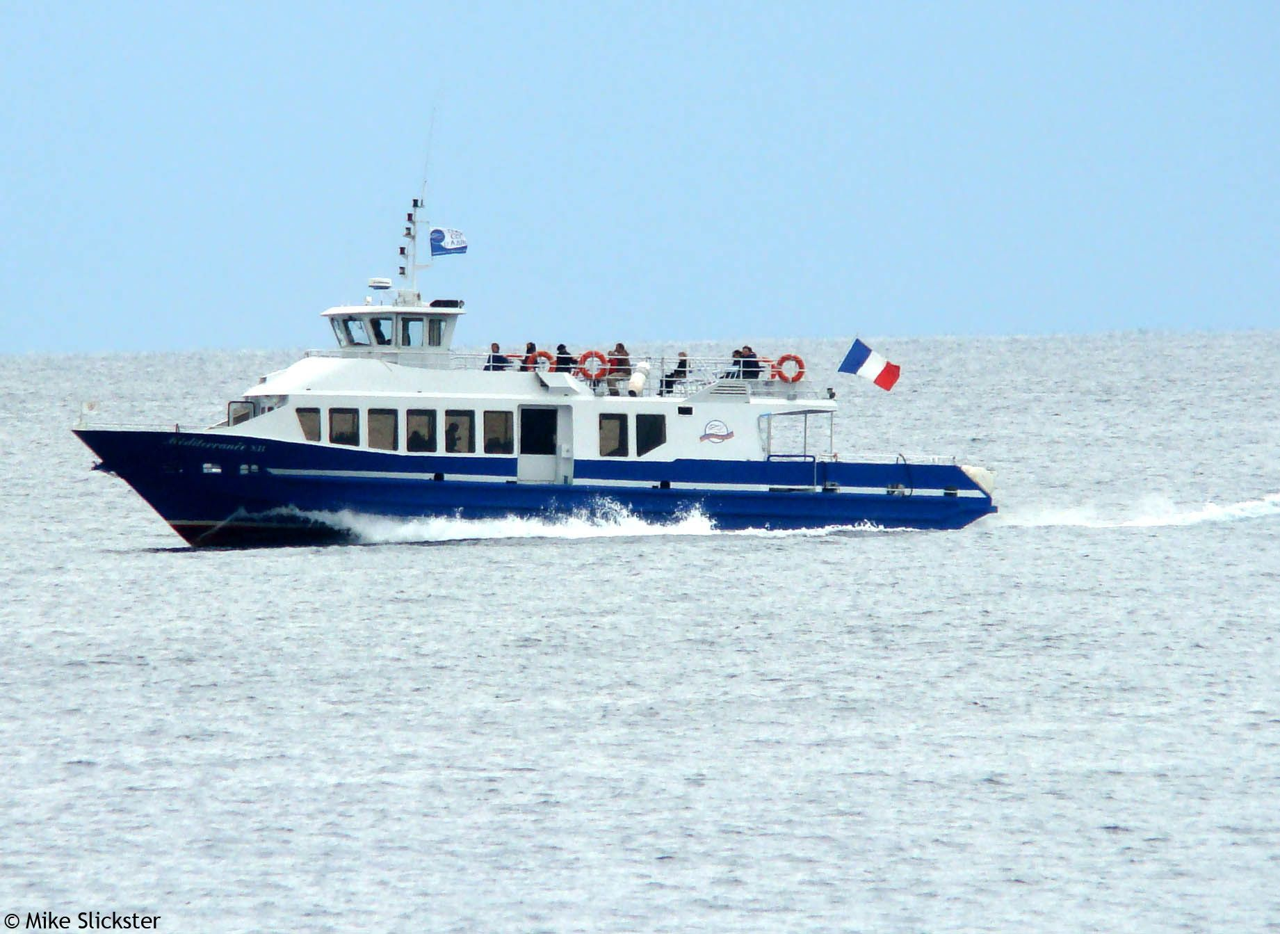 Party Boat, Cruising on the Baie des Anges in Nice, France.