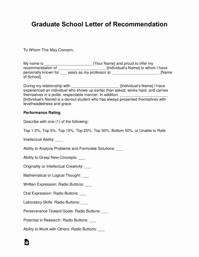 Mba Recommendation Letter Examples Inspirational Free Graduate School Letter Of Re Mendation Template In 2020 Letter Of Recommendation School Template Letter Example