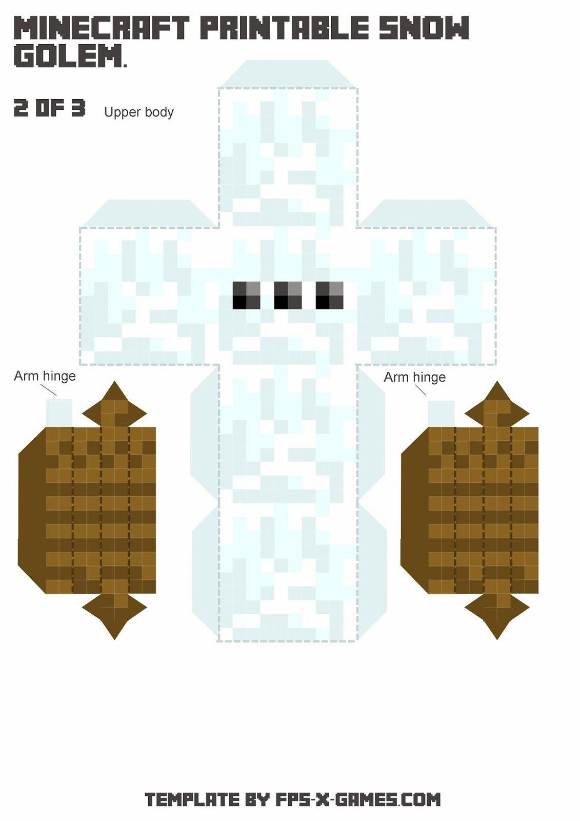 Large Minecraft Printable Snow Golem Minecraft Printables