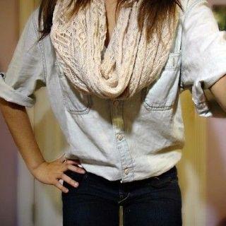 Denim button down & scarf.