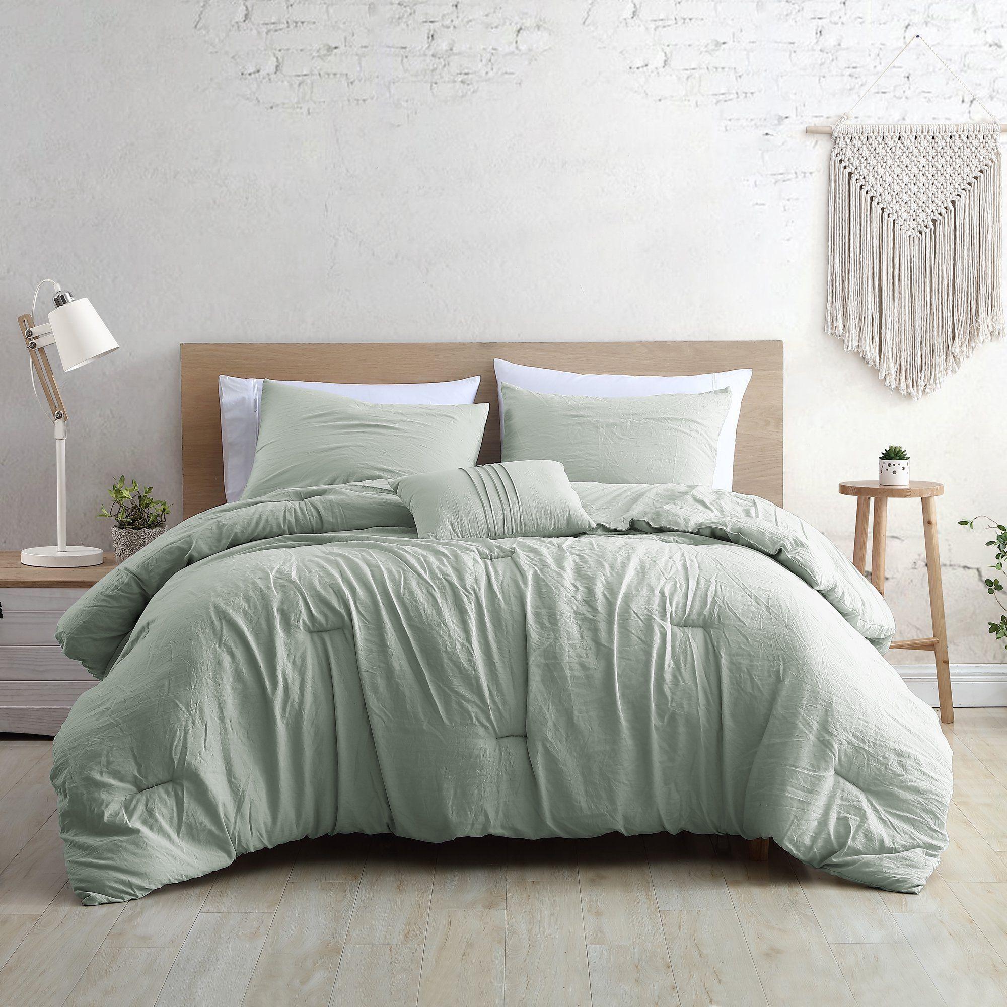 Modern Threads Beck Garment Washed 4 Piece Super Soft Comforter Set Full Queen Sage Walmart Com In 2021 Sage Green Bedroom Sage Bedroom Comforter Sets