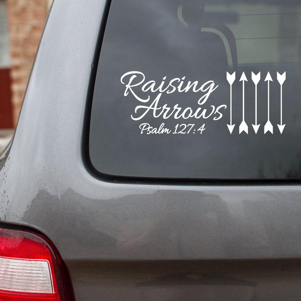 Raising arrows car decal designed by his child com five arrows representing five children