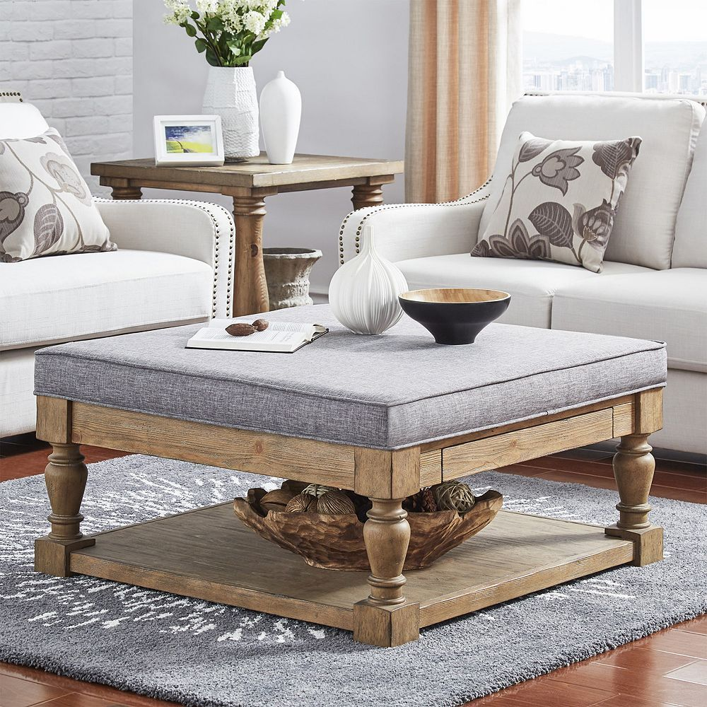 Homevance tufted upholstered coffee table grey coffee