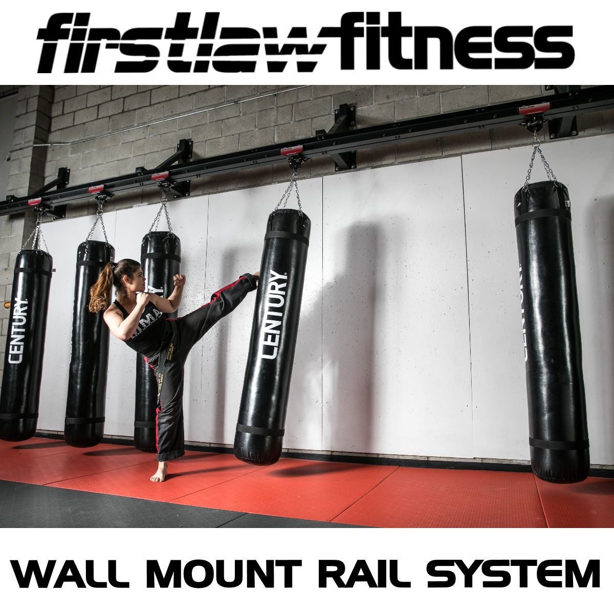 Another Shot Of Our Wall Mount Rail System This Is 24 Of The Strongest Wall Mounted Heavy Bag System On The Mar Heavy Bag Mount Heavy Bags Heavy Punching Bag
