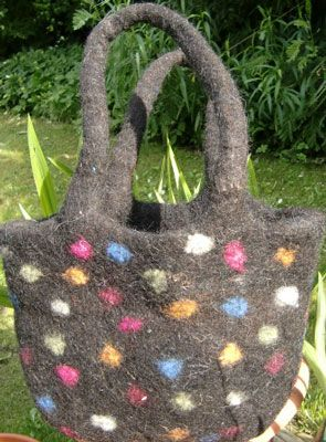 Black and dot handbag made in wool felt. Perfect as a Christmas present  £27.00, free delivery