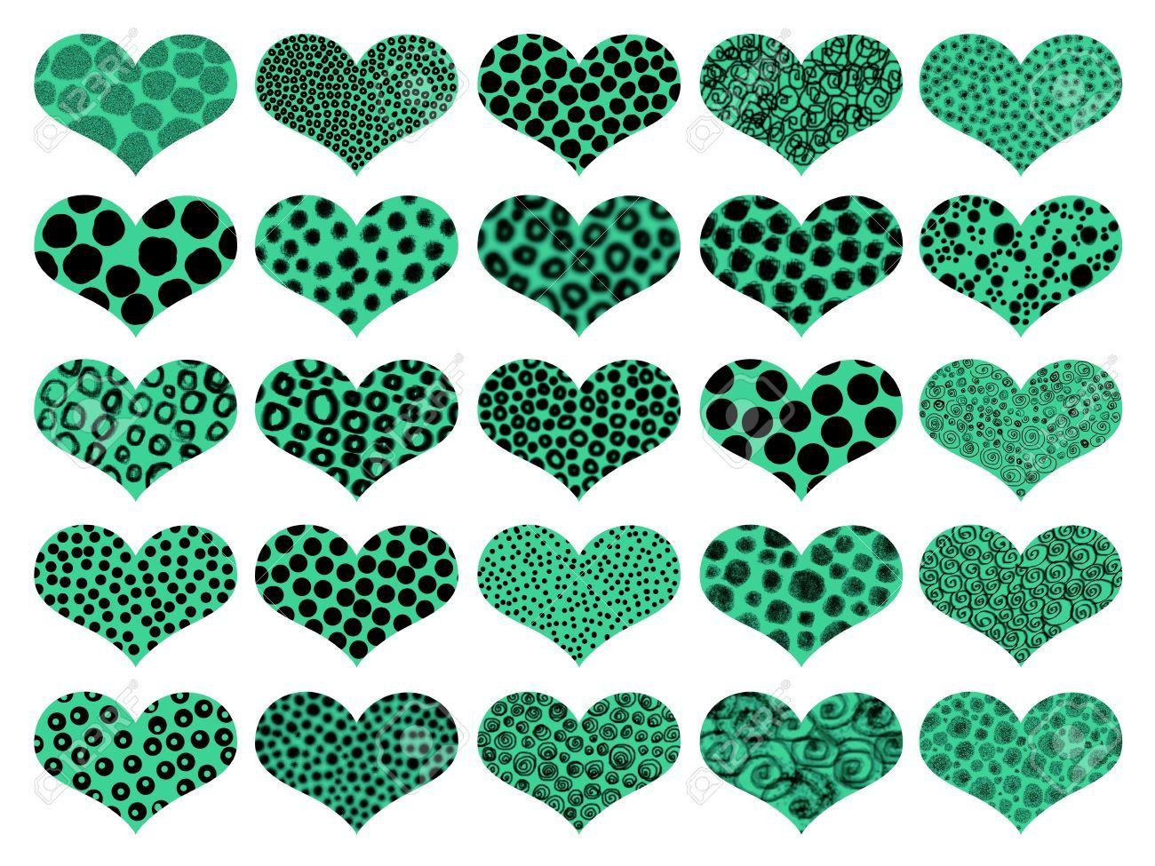 Animalprint. 25 corazones con diferentes texturas verdes y negros ...